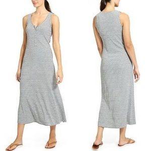 Athleta Hermosa Henley Striped Maxi Dress